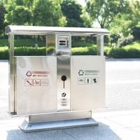 不锈钢金属户外垃圾桶大号双桶分类物业公园小区街道垃小路垃圾桶