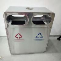 户外垃圾桶不锈钢大号双桶物业公园小区景区街道分类环卫果皮箱