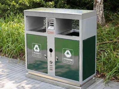 不锈钢户外雷火电竞平台登录大号双桶分类物业公园小区街道环卫垃圾筒果皮箱