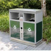 不锈钢户外垃圾桶大号双桶分类物业公园小区街道环卫垃圾筒果皮箱