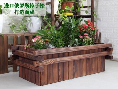 长方形户外防腐木花盆炭化木花盆正方形实木花盆室内原木创意花箱