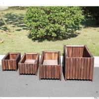 户外园艺大号防腐木实木花盆花槽阳台种菜盆定做碳化长方形花箱