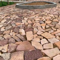 鼎岩石材 天然红色3公分厚贴墙碎拼片石 铺路毛石